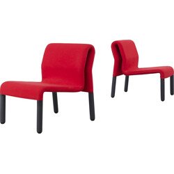 Pair of red lounge chairs in fabric - 1980s