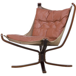 "Vatne Mobler ""Falcon Sling"" armchair in brown leather, Sigurd RESSELL - 1970s"