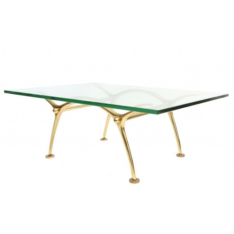 Brass and glass coffee table, KOULOUFI - 1970s