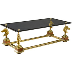 Maison Charles bronze and brass coffee table - 1970s