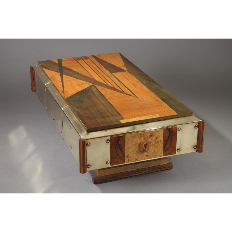 Copper And Wood Coffee Table: Copper And Wood Marquetry Coffee Table