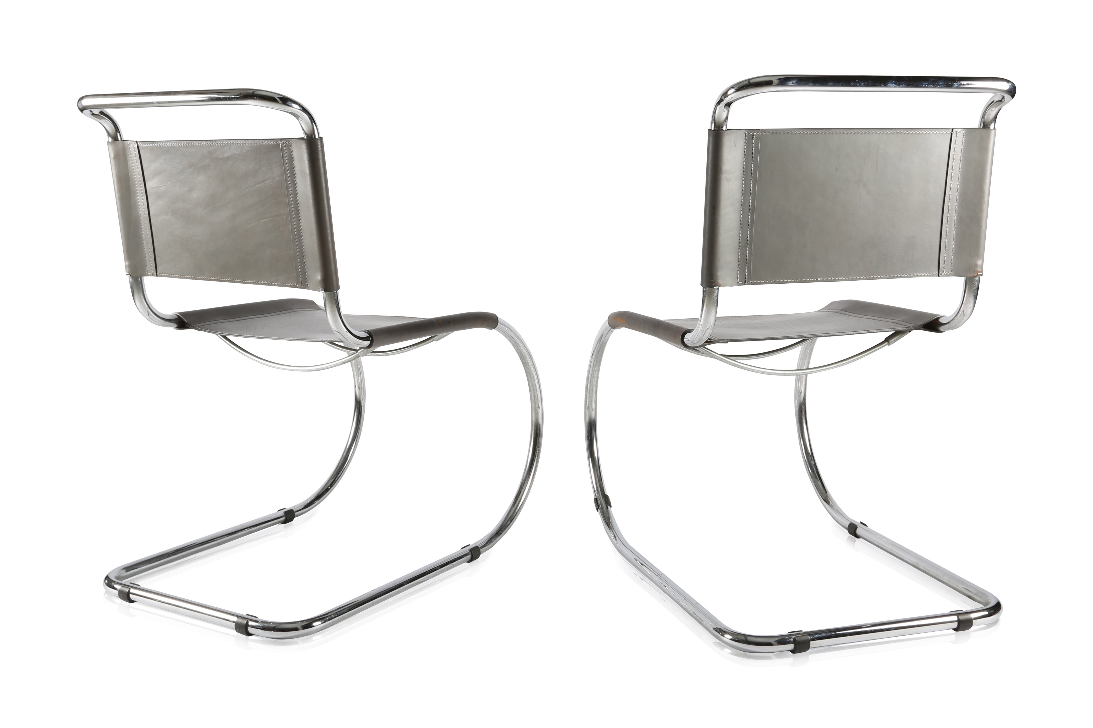 """Set of 4 Thonet """"MR"""" chairs in leather and chromed metal Mies VAN"""