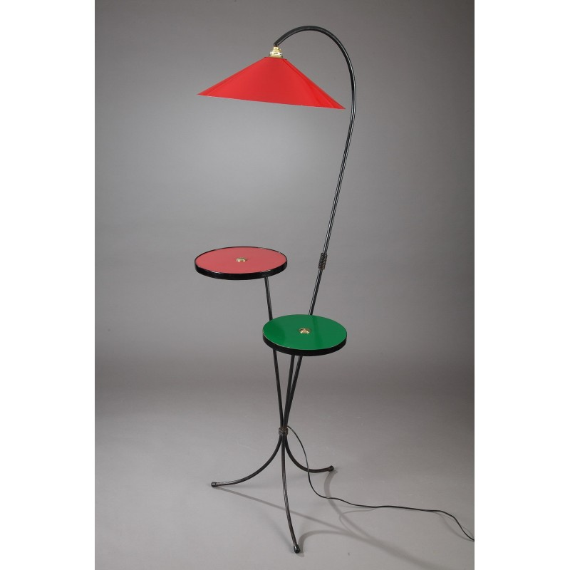 Floor Lamp With 2 Red And Green Trays