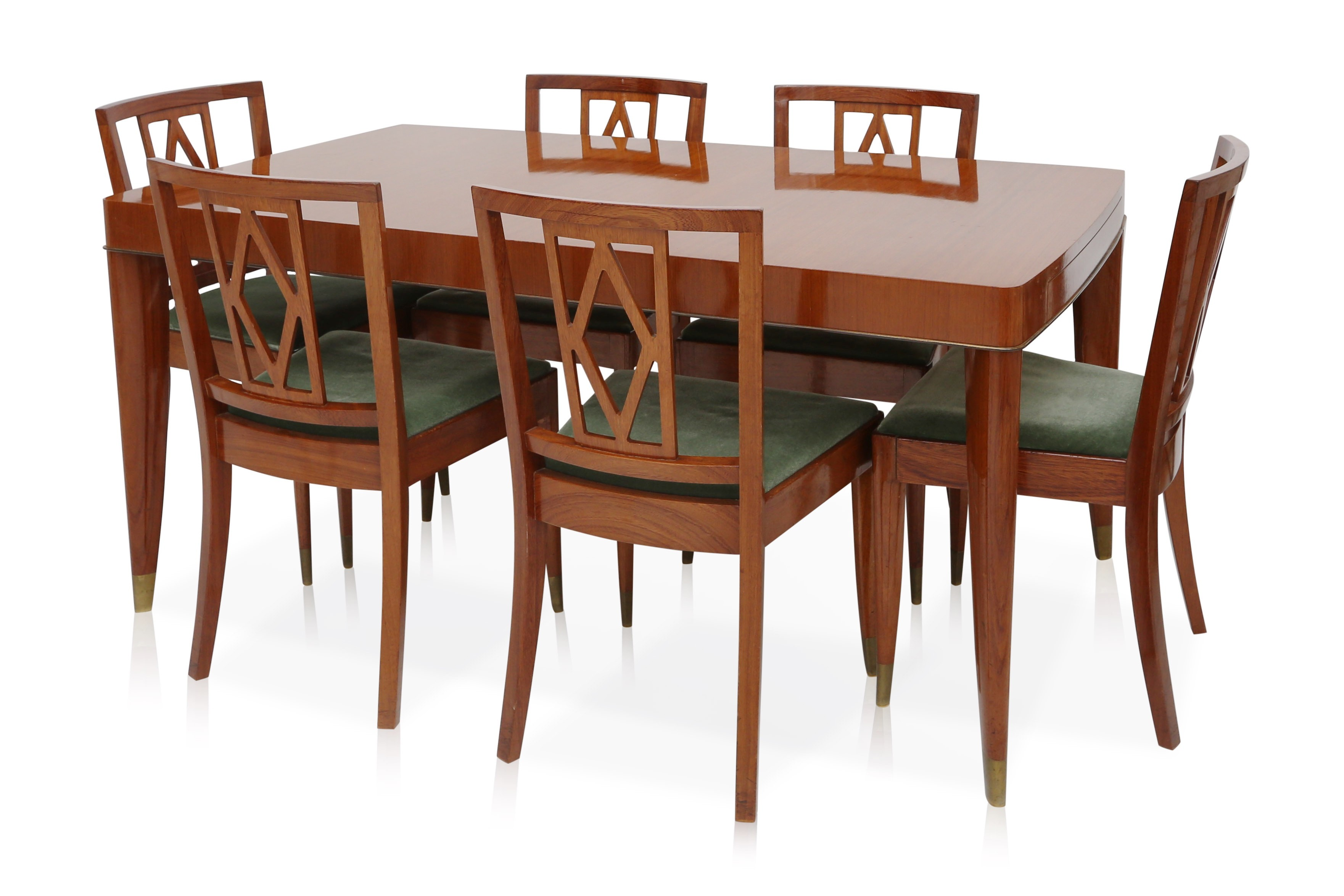 set of 6 belgian dining chairs in mahogany and green velvet de coene brothers 1950s