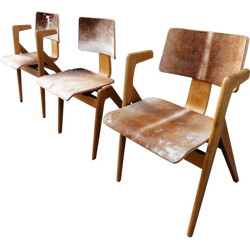 "Set of 3 Hille & Co ""Hillestak chairs in ash and foal skin, Robin DAY - 1950s"