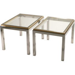 Pair of vintage side tables in glass and metal, Willy RIZZO - 1970s
