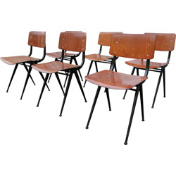 Set of 6 wooden and black steel chairs, Friso KRAMER - 1950s