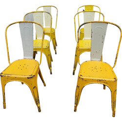 Set of 6 yellow metal chairs - 1950s