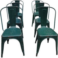 Set of 6 green Tolix chairs in metal - 1950s