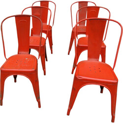Set of 6 Tolix red metal chairs - 1950