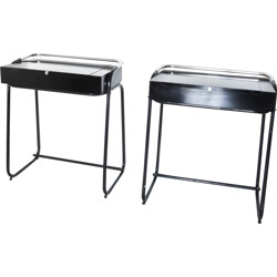 Set of 2 chromed metal and formica dressing tables - 1960s