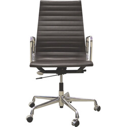 Vitra EA119 alu office chair brown leather, Charles & Ray EAMES - 2000s