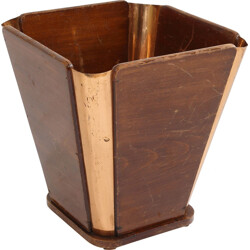 Paper bin in wood and copper - 1930s