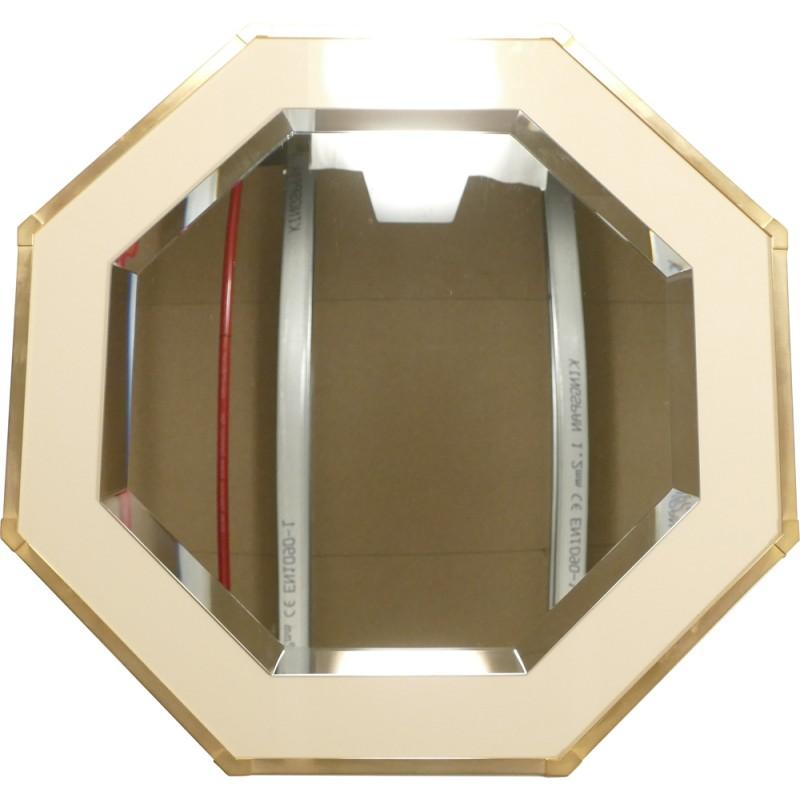 French Roméo mirror in white lacquered metal and brass, Jean-Claude MAHEY - 1970s