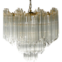 Italian Murano chandelier in brass and crystal, Paolo VENINI - 1960s