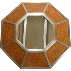 Mirror in elm and metal, Willy RIZZO - 1970s
