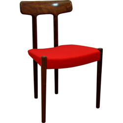 Red Danish dining chair in rosewood and fabric - 1960s