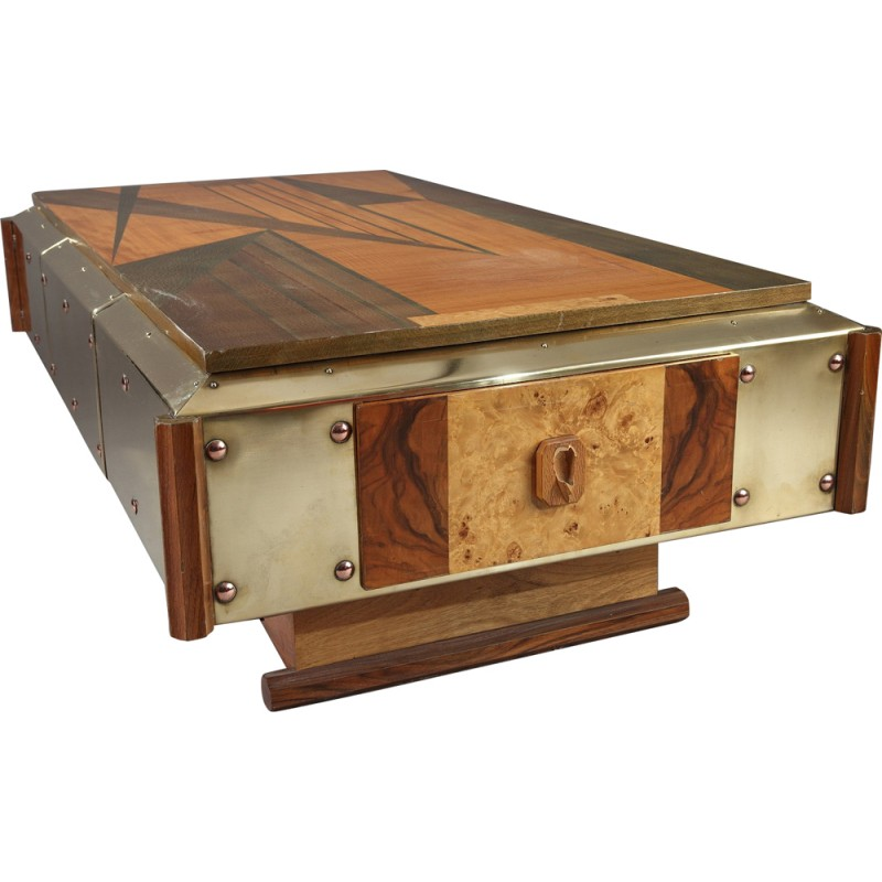 Copper And Wood Marquetry Coffee Table 1970s