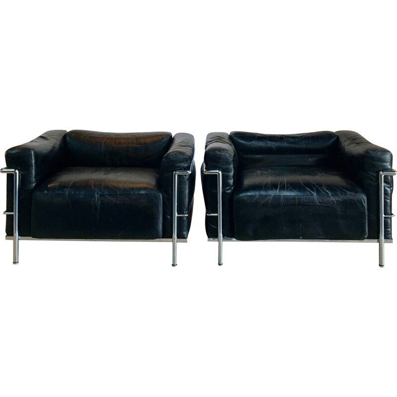 "Pair of vintage Cassina ""LC3"" chairs, LE CORBUSIER - 1960s"