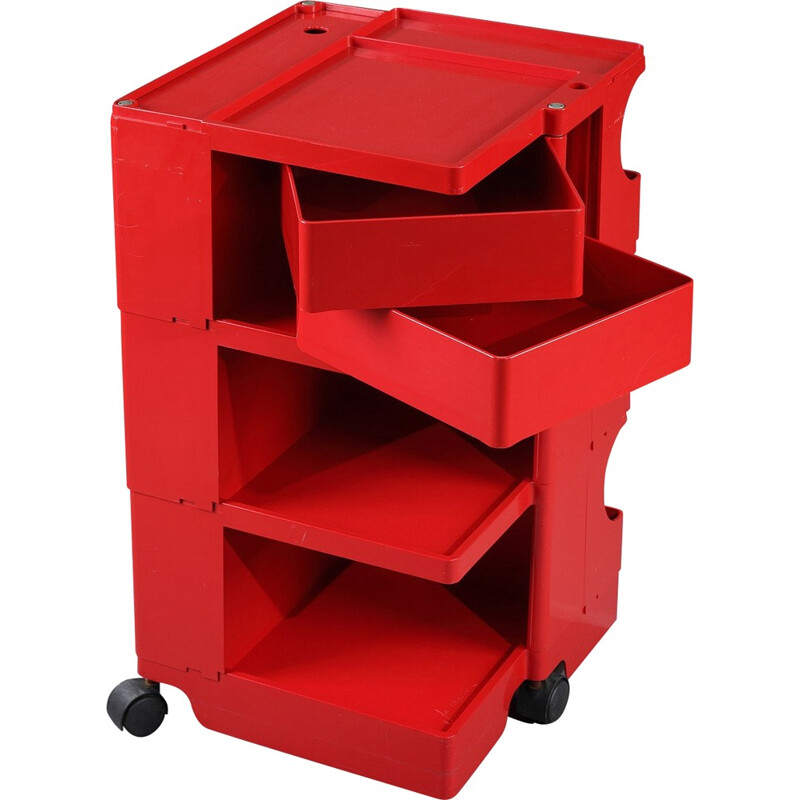 "Bieffeplast ""Boby"" red rolling trolley, Joe COLOMBO - 1980s"