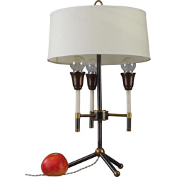 Modernist table lamp in black and golden lacquered metal - 1950s