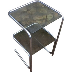 Side table in aluminum and glass - 1970s
