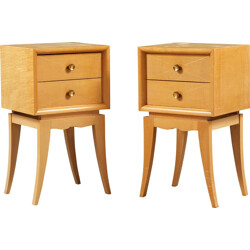Pair of French bedside tables in sycomore, Suzanne GUIGUICHON - 1940s