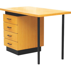 Modernist desk in blond wood - 1980s
