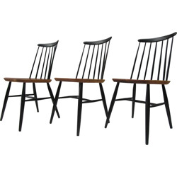 Set of 3 dining chairs with spindle back in wood - 1950s