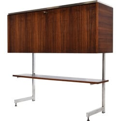High bar cabinet in rosewood and chromed metal - 1960s