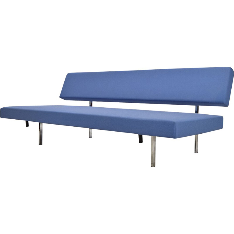 Dutch blue daybed in chromed metal and fabric, Gijs VAN DER SLUIS - 1950s