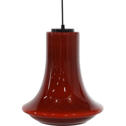 Bell shaped brown glass pendant - 1970s