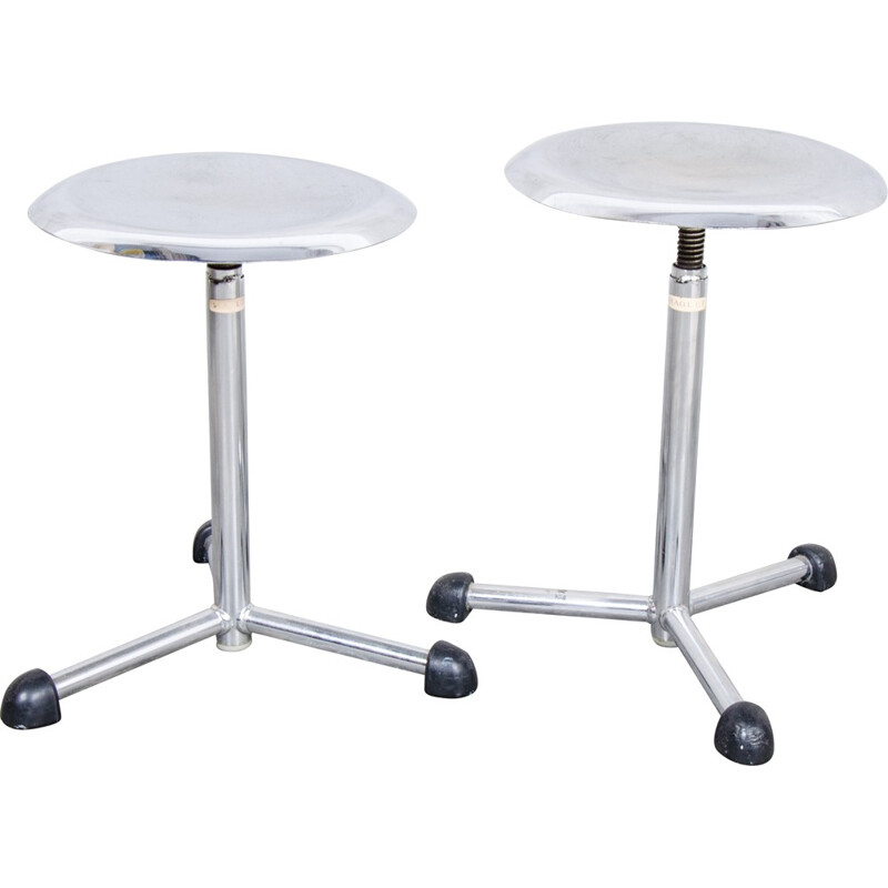 Pair of industrial Maquet stools in chromed metal - 1950s