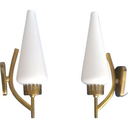 Set of 2 sconces in brass and glass - 1950s