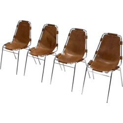 Set of 4 Les Arcs chairs in cognac leather - 1960s