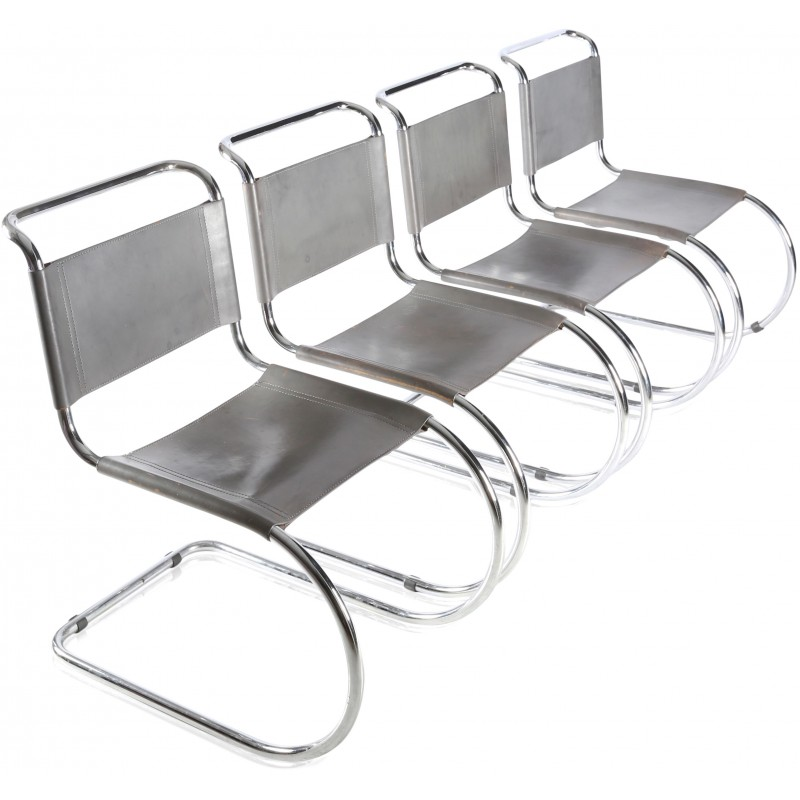 "Set Of 4 Thonet ""Mr"" Chairs In Leather And Chromed Metal, Mies Van"