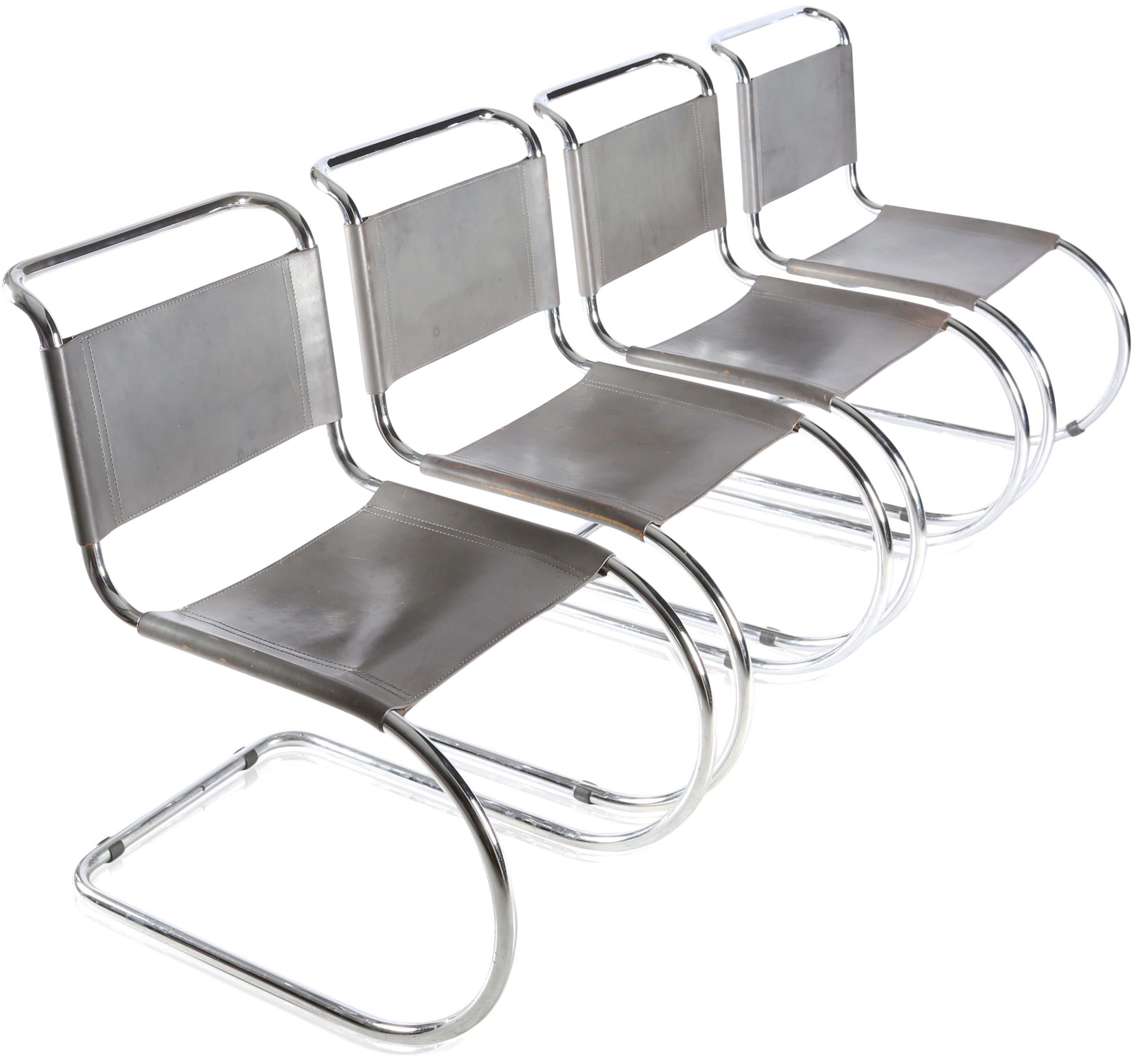 Set Of 4 Thonet Mr Chairs In Leather And Chromed Metal Mies Van