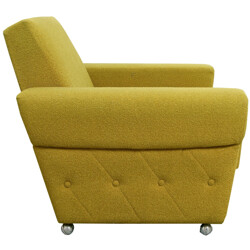 Mid-century armchair in green fabric - 1960s