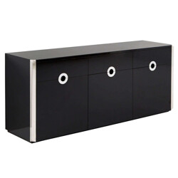 Mario Sabot black high gloss sideboard, Willy RIZZO - 1970s
