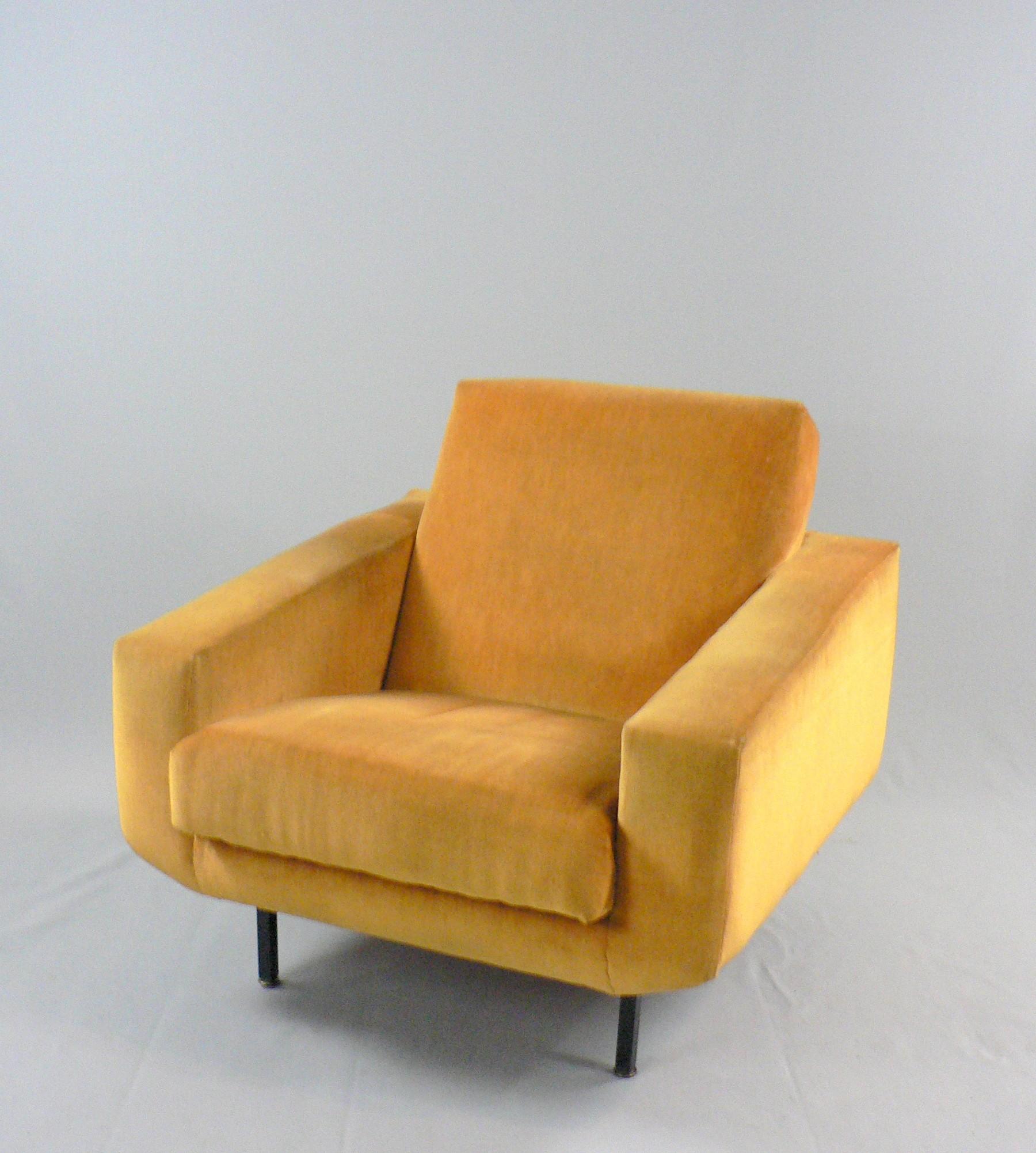 Pair of yellow velvet armchairs 1950s Design Market
