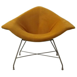 Italian Fratelli Saporiti lounge chair in orange velvet, Augusto BOZZI - 1950s