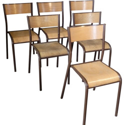 Set of 6 Mullca 510 school chairs - 1960s
