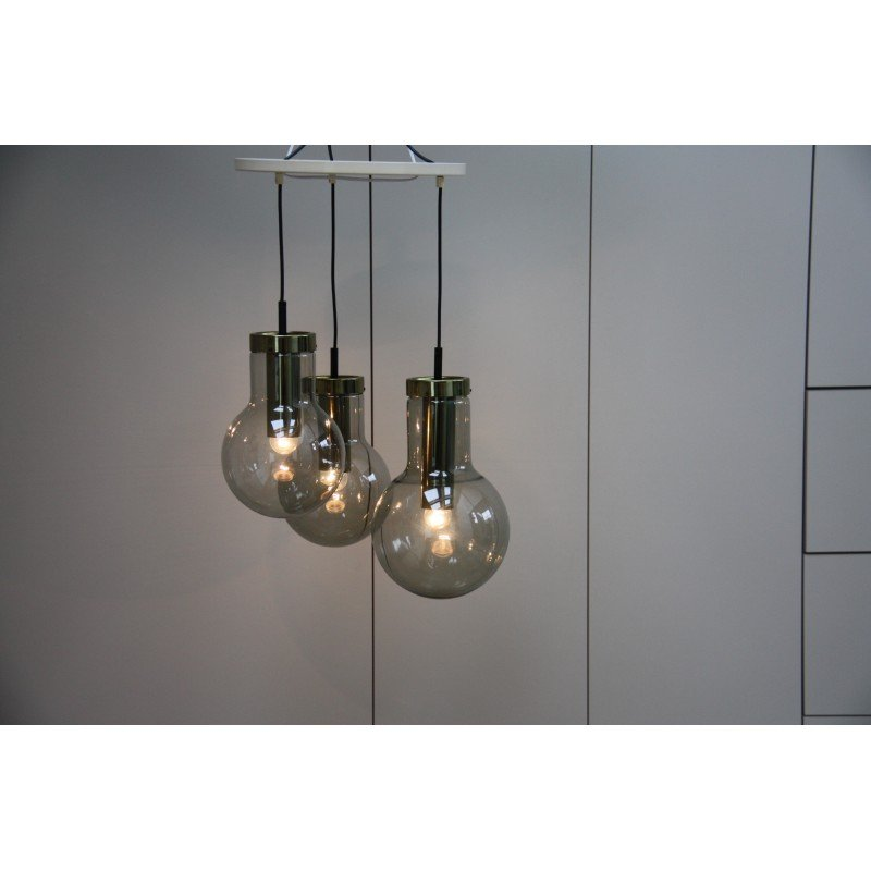 Vintage pendant lights in smoke glass frank ligtelijn 1960s previous mozeypictures Choice Image