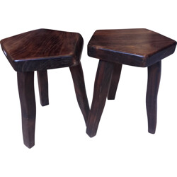 Set of 2 rustic wood stools - 1960s