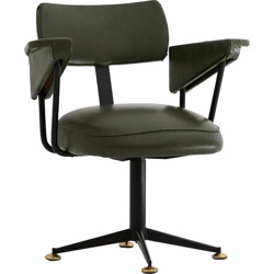 Italian swivel office chair in skaï and black lacquered iron - 1950s