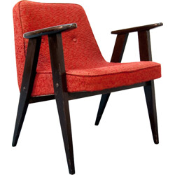 Armchair in red fabric and solid oak, Jozef CHIEROWSKI - 1960s
