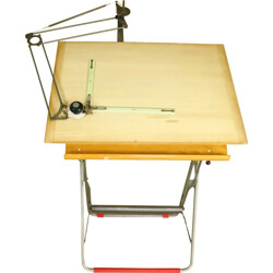 Industrial Nestler drawing table in beech and steel - 1960s