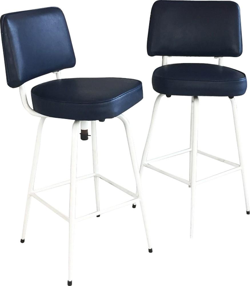 Superb Pair Of Mid Century Blue Vinyl Bar Stools 1970S Design Market Forskolin Free Trial Chair Design Images Forskolin Free Trialorg
