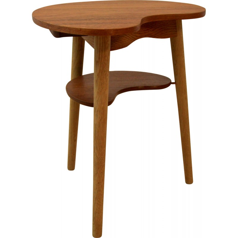Great Danish Side Table In Teak And Oak With Cup Holder   1960s