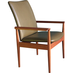 "Cado ""Diplomat"" armchair in teak and olive green leather, Finn JUHL - 1960s"